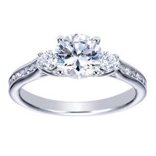 14k White Gold 1/4ct TDW Diamond and Cubic Zirconia Vintage Halo Engagement Ring (H-I, I1-I2)