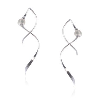 Journee Collection Sterling Silver Bead Accent Spiral Earrings