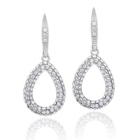 Crystal Ice Silvertone Swarovski Elements Teardrop Earrings