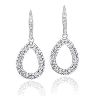 Crystal Ice Silvertone Swarovski Elements Teardrop Earrings