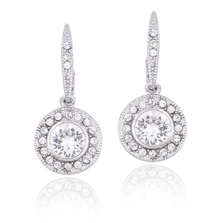 Crystal Ice Silvertone Swarovski Elements Round Leverback Earrings