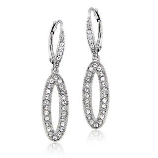 Crystal Ice Silvertone Swarovski Elements Teardrop Dangle Earrings