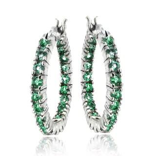 Glitzy Rocks Silvertone Created Green Quartz Hoop Earrings