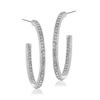 Crystal Ice Silvertone Swarovski Elements Open Oval Hoop Earrings