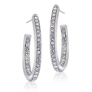 Crystal Ice Silvertone Swarovski Elements Oval Open Hoop Earrings