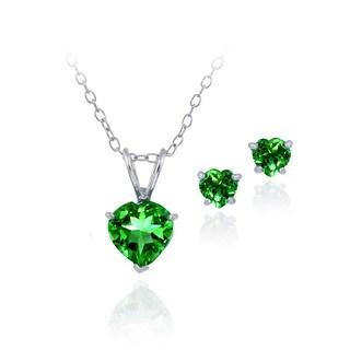 Glitzy Rocks Sterling Silver Heart Created Green Quartz Solitaire Set