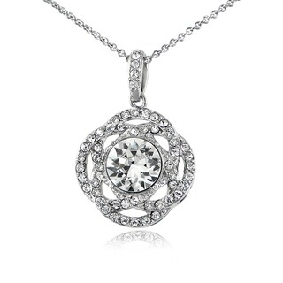 Crystal Ice Silverstone Swarovski Elements Interlocking Circle Necklace