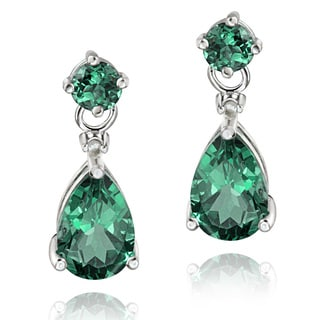 Glitzy Rocks Sterling Silver Created Green Quartz and Diamond Earrings