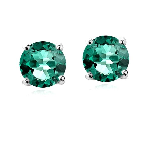 Glitzy Rocks Sterling Silver Created Green Quartz Stud Earrings