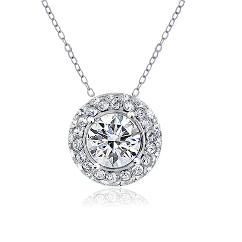 Crystal Ice Silverstone European Crystals Round Halo Necklace
