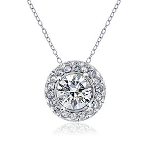 Crystal Ice Silverstone Swarovski Elements Round Halo Necklace
