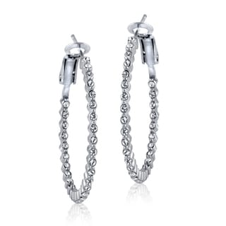 Crystal Ice Silvertone Swarovski Elements 31mm Round Hoop Earrings