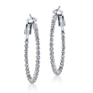 Crystal Ice Silvertone Swarovski Elements 31mm Round Hoop Earrings