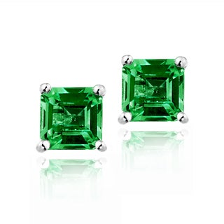 Glitzy Rocks Sterling Silver Created Green Quartz Square Stud Earrings
