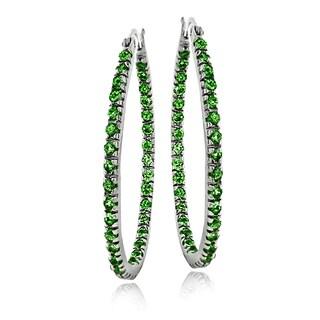 Sterling Silver Created Emerald Oval Hoop Earrings