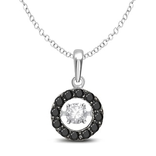 Unending Love 10k White Gold 1/3ct TDW Black Diamond 'Glittering Stars' Circle Pendant