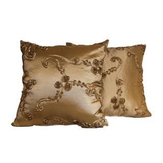 Raised Ribbon Taffeta Decorative Throw Pillow (Set of 2)