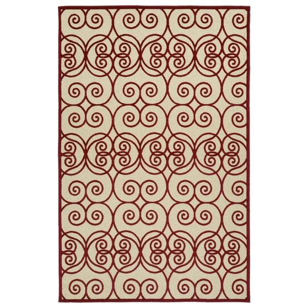 """Indoor/Outdoor Luka Red Scroll Rug - 5' x 7'6"""""""