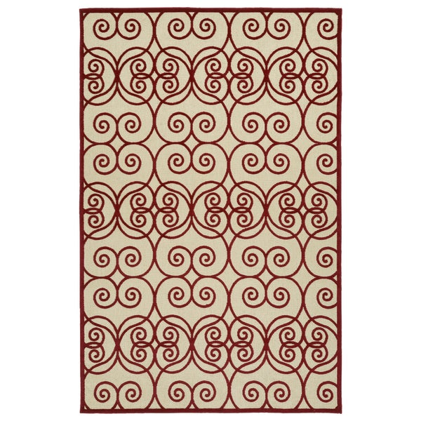 Indoor/Outdoor Luka Red Scroll Rug - 7'10 x 10'8