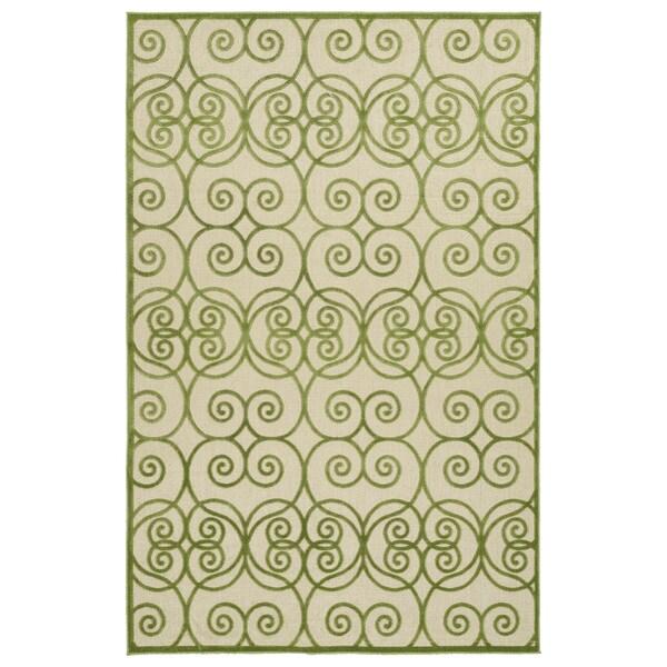 Indoor/Outdoor Luka Green Scroll Rug - 7'10 x 10'8
