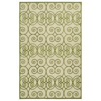 Indoor/Outdoor Luka Green Scroll Rug - 7'10 x 10'8