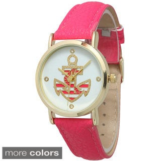 Olivia Pratt Women's Anchor Emblem Leather Band Watch