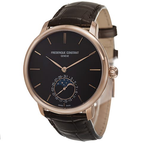 Frederique Constant Men's 'Slim Line' Brown Dial Brown Leather Strap Automatic Watch