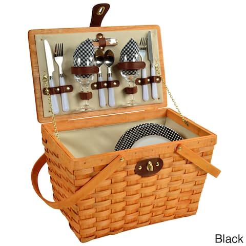 Picnic at Ascot Frisco American Style, Lined Picnic Basket Set for Two