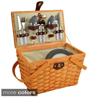 Picnic at Ascot Frisco American Style, Lined Picnic Basket Set for Two (Option: Black)