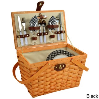 Picnic at Ascot Frisco American Style, Lined Picnic Basket Set for Two (Option: Brown/Black)