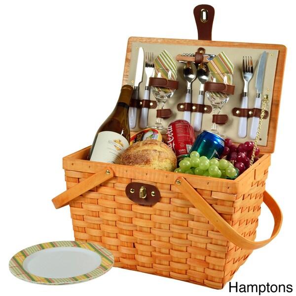 Brown Wicker//Hamptons Picnic at Ascot Buckingham Basket for 4