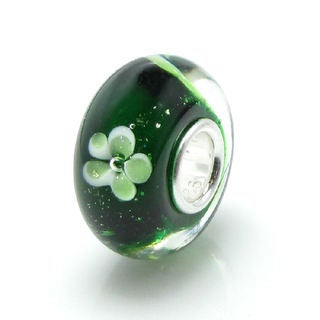 Queenberry Sterling Silver Rondelle Green Clover Flower Glass European Bead Charm