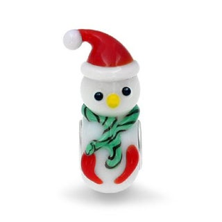 Queenberry Sterling Silver Christmas Snowman with Red Hat Glass Murano Lampwork European Bead Charm
