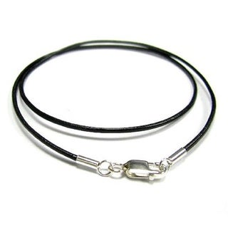 Queenberry Sterling Silver Black Genuine Leather 1mm 16-inch Choker Necklace