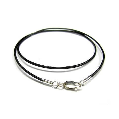 Sterling Silver Black Genuine Leather 1mm 18-inch Choker Necklace