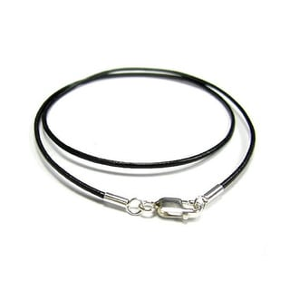 Queenberry Sterling Silver Black Genuine Leather 1mm 18-inch Choker Necklace