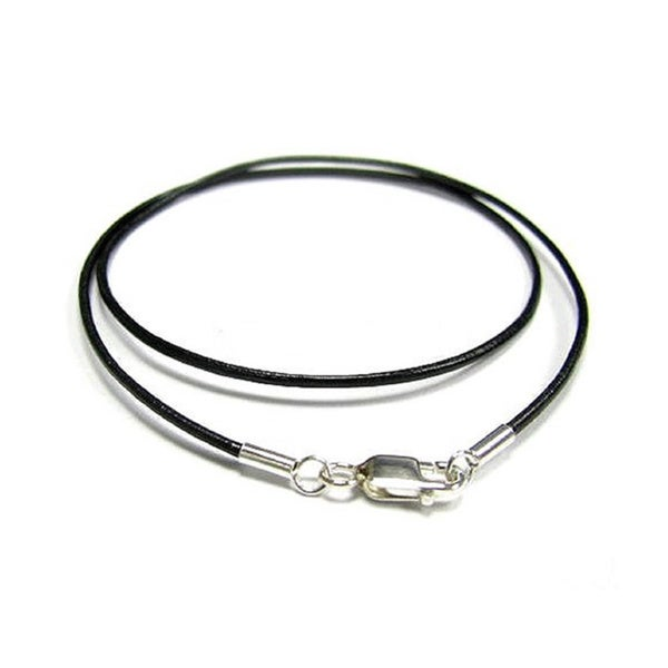 Queenberry Black Leather 2mm Choker Necklace with Sterling Silver Lobster Clasp IwsUyQo