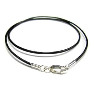 Sterling Silver Black Genuine Leather 1mm 20-inch Choker Necklace