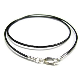 Queenberry Sterling Silver Black Genuine Leather 1mm 20-inch Choker Necklace
