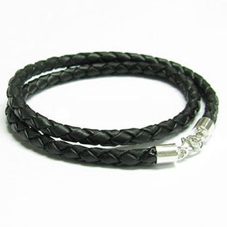 Queenberry Sterling Silver Black Bolo Braided Leather Cord 3mm Choker Necklace