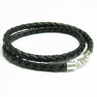 Queenberry Sterling Silver Black Bolo Braided Leather 3mm Choker Necklace