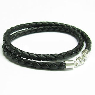 Sterling Silver Black Bolo Braided Leather 3mm Choker Necklace