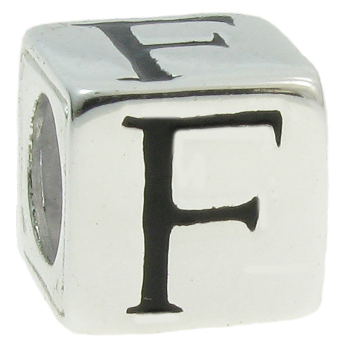 Queenberry Sterling Silver Dice Cube Letter 'F' European ...