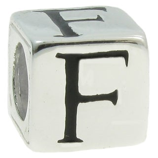 Queenberry Sterling Silver Dice Cube Letter 'F' European Bead Charm
