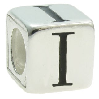 Queenberry Sterling Silver Dice Cube Letter 'I' European Bead Charm