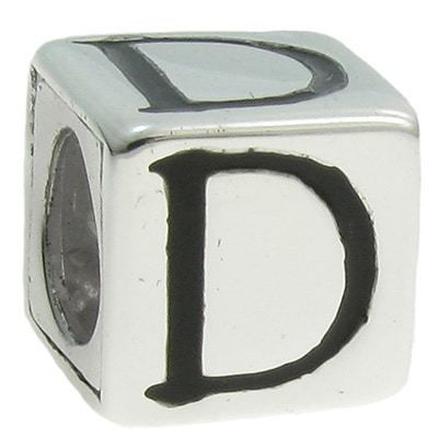 STERLING SILVER CUBE ALPHABET INITIAL D CUBE BEAD