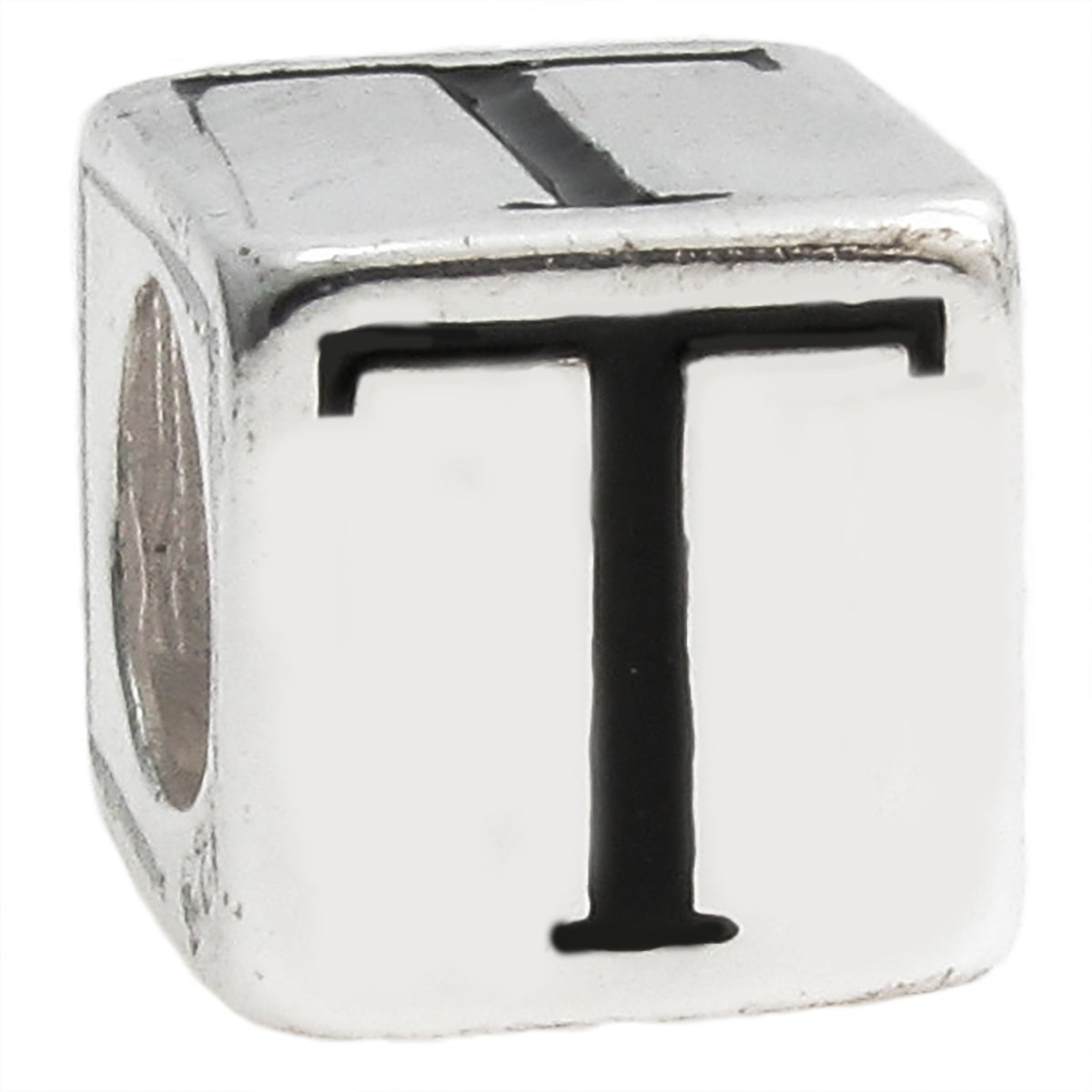 Queenberry Sterling Silver Dice Cube Letter 'T' European ...