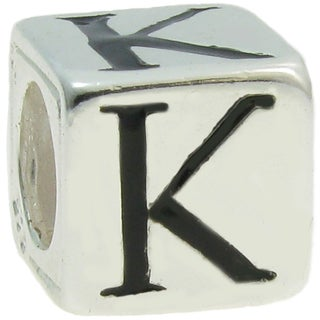 Queenberry Sterling Silver Dice Cube Letter 'K' European Bead Charm