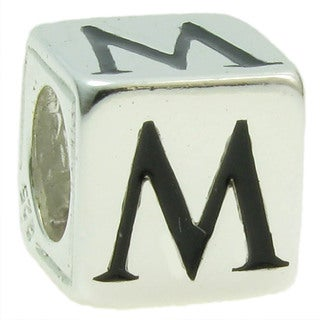 Queenberry Sterling Silver Dice Cube Letter 'M' European Bead Charm
