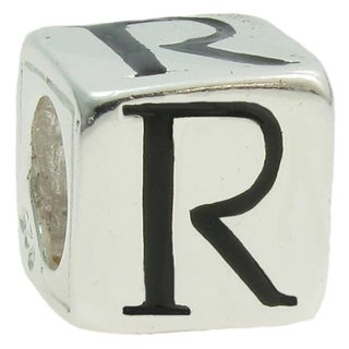 Queenberry Sterling Silver Dice Cube Letter 'R' European Bead Charm
